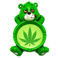 Stoner Bear Pot Leaf Ashtray | Green | Wholesale Distributor